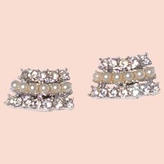 Sarah Coventry Faux Pearl Rhinestone Shoe Clips