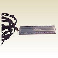 Vintage Sterling Silver Black Enameled Folding Comb