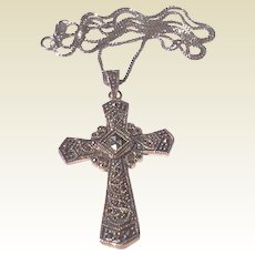 Vintage Large Sterling Silver Ornate Marcasite Cross & Original Chain