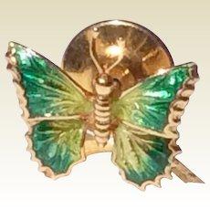 Vintage 18 K Gold Enameled Butterfly Tie Tack Lapel Pin