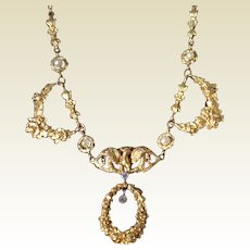 Fabulous 1920's French Stamped 18 K Solid Gold Genuine Pearl Rose Cut Diamond Necklace