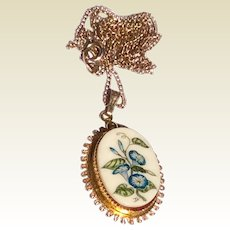 Vintage Gold Filled Hand Painted Pendant Necklace