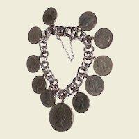 Vintage English Sterling Silver 6 Pence & 2 Shilling Coin Charm Bracelet