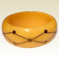 Vintage Wide Cream & Gold Celluloid Bangle Bracelet