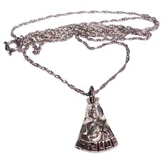 Vintage Sterling Silver Creed Saint Jude Pendant Medal And Chain