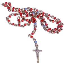 Vintage Faux Coral Sky Blue Miniature Rosary