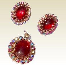 Vintage Gold Tone Medal Red Stone & AB Rhinestone Clip Earrings & Pendant