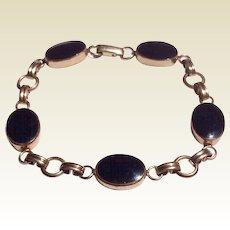 Vintage Van Dell 12 K Gold Filled Black Onyx Link Bracelet