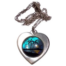 Wonderful Vintage Butterfly Wing MOP Heart Shaped Pendant Necklace