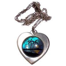 Wonderful Vintage Butterfly Wing MOP Heart Shaped Pendant Necklace
