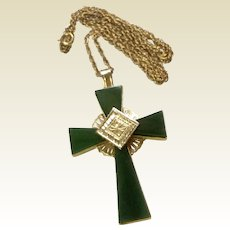 Vintage Sterling Vermeil Jade Cross  & Chain