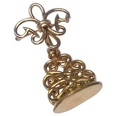 Vintage Gold Filled Fleur D Lis Watch Pin & Watch Fob