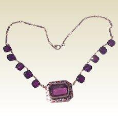 Art Deco Purple Rhinestone Necklace