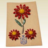 Vintage 1950's Enamel Flower Brooch & Earrings On Original Card