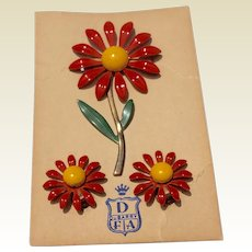 Vintage 1950's Enamel Flower Brooch & Earrings On Original Card