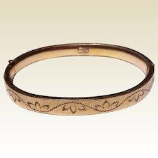 Vintage 12 K Gold Filled Bates & Bacon Hinged Bangle Bracelet