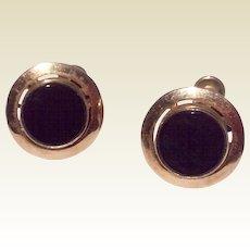 Vintage Van Dell 12 K Gold Filled Black Onyx Earrings