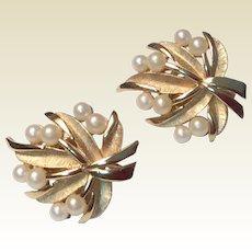 Vintage Signed Trifari Gold Tone Metal Faux Pearl Clip Earrings