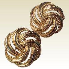 Vintage Signed Trifari Gold Tone Metal Basket Weave Clip Earrings