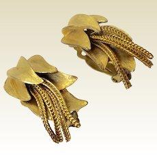 Vintage Brushed Gold Tone Metal Dangling Fringe Clip Earrings