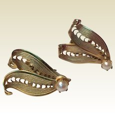 Vintage Gold Tone Metal Faux Pearl Clip Earrings