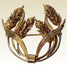 Vintage Gold Tone Metal Wheat Flower Brooch