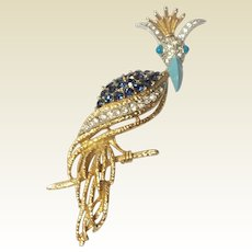 Vintage Florenza Crowned Bird Of Paradise Rhinestone  Brooch