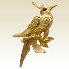 Vintage Gold Tone Metal Bird Brooch
