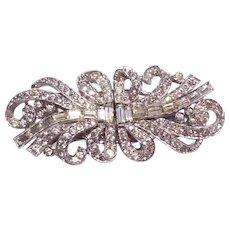 Art Deco Rhinestone Ribbon Bow Duette Dress/Fur Clip Brooch