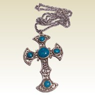 Vintage Large Silver Tone Faux Turquoise Cross Pendant & Chain