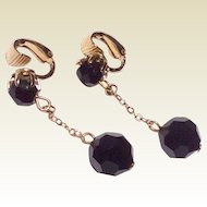 Vintage Jet Black Faceted Dangle Ball Earrings