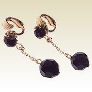 Vintage Jet Black Faceted Dangle Ball Earrings