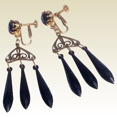 Vintage Jet Black Filigree Dangle Screw Back Clip Earrings