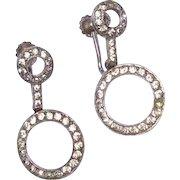 Vintage Sterling Silver Hoop Clear Rhinestone Dangle Earrings