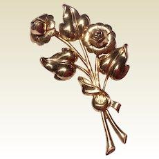 Large Vintage Gold Tone Metal Floral Brooch