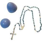 Vintage Child's Rosary Case & Rosary
