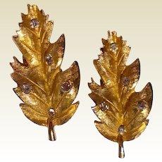 Vintage Gold Tone Metal Rhinestone Leaf Clip Earrings