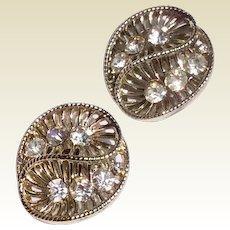 Vintage Coro Silver Tone Metal Rhinestone Clip Earrings