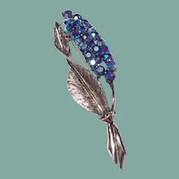 Vintage Silver Tone Metal AB Blue Rhinestone Brooch