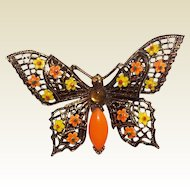 Vintage Gold Tone Metal Enameled Butterfly Brooch