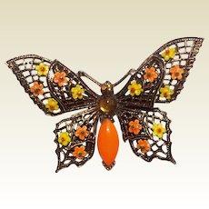 Vintage Gold Tone Metal Enameled Butterfly Brooch