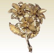 Vintage Gold Tone Metal Floral Spray Brooch