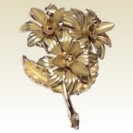 Vintage Gold Tone Metal Floral Spray Brooch