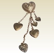 Vintage Gold Tone Metal Dangling Heart Brooch