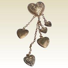 Vintage Gold Tone Metal Dangling Heart Brooch