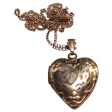 Vintage 10 K Gold Filled Heart Double Photo Locket & Chain - Red Tag Sale Item