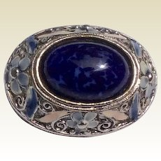 Vintage Silver Tone Metal Oval Blue Stone Brooch