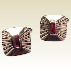 Vintage Gold Tone Metal Red Stone Cuff Links