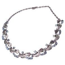 Vintage Silver Tone Metal Sky Blue Rhinestone Choker Necklace