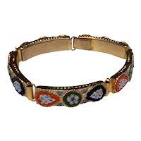 Gold Tone Metal Micro Mosaic Bracelet